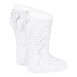 Garter stitch knee high socks with bow WHITE