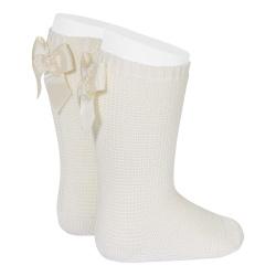 Garter stitch knee high socks with bow BEIGE