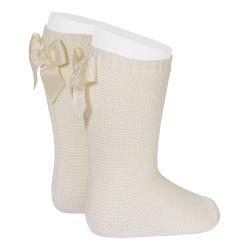 Garter stitch knee high socks with bow LINEN