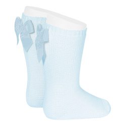 Garter stitch knee high socks with bow BABY BLUE
