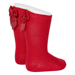 Garter stitch knee high socks with bow RED