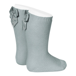 Garter stitch knee high socks with bow DRY GREEN