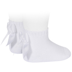 Garter stitch short socks with bow WHITE