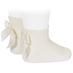 Garter stitch short socks with bow BEIGE