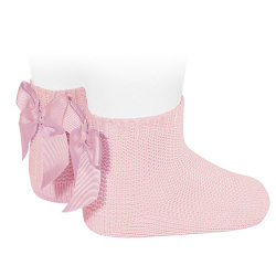 Garter stitch short socks with bow PINK