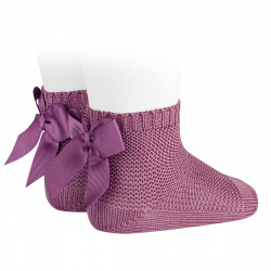 Garter stitch short socks with bow CASSIS
