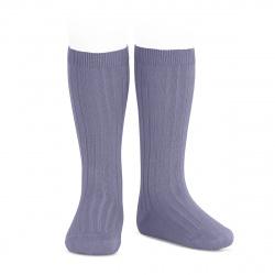 Basic rib knee high socks LAVENDER