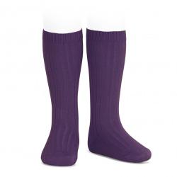 Basic rib knee high socks AUBERGINE