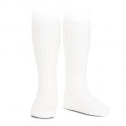 Basic rib knee high socks WHITE