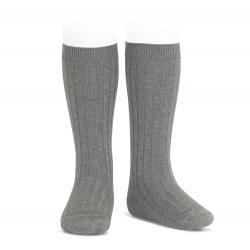Basic rib knee high socks LIGHT GREY