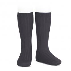 Basic rib knee high socks COAL