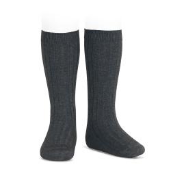 Basic rib knee high socks ANTHRACITE