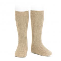 Basic rib knee high socks NOUGAT
