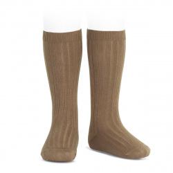 Basic rib knee high socks TOBACCO
