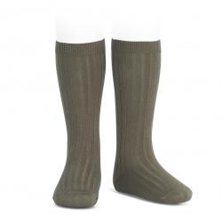 Basic rib knee high socks MINK