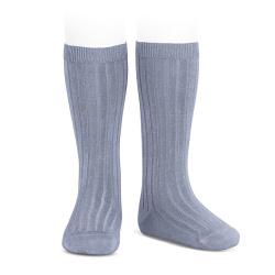 Basic rib knee high socks STEEL