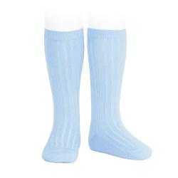 Basic rib knee high socks BABY BLUE