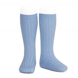 Basic rib knee high socks BLUISH