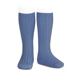 Basic rib knee high socks FRENCH BLUE