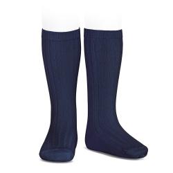 Basic rib knee high socks NAVY BLUE