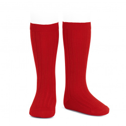 Basic rib knee high socks RED