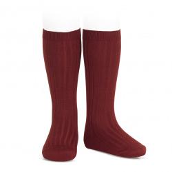 Basic rib knee high socks BURGUNDY