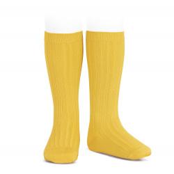 Basic rib knee high socks YELLOW