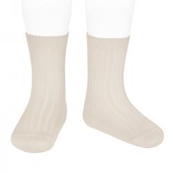 Basic rib short socks LINEN