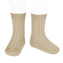 Basic rib short socks NOUGAT