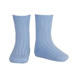 Basic rib short socks BLUISH