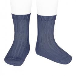 Basic rib short socks JEANS