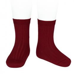 Basic rib short socks BURGUNDY