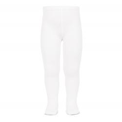 Plain stitch basic tights WHITE