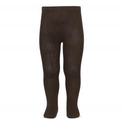 Plain stitch basic tights BROWN