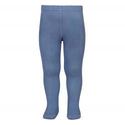 Plain stitch basic tights FRENCH BLUE