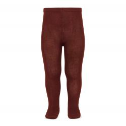 Plain stitch basic tights BURGUNDY