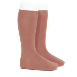 Plain stitch basic knee high socks TERRACOTA