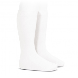 Plain stitch basic knee high socks WHITE