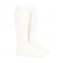 Plain stitch basic knee high socks CREAM
