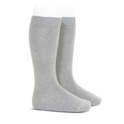 Plain stitch basic knee high socks ALUMINIUM