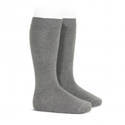 Plain stitch basic knee high socks LIGHT GREY