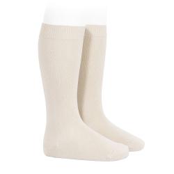 Plain stitch basic knee high socks LINEN