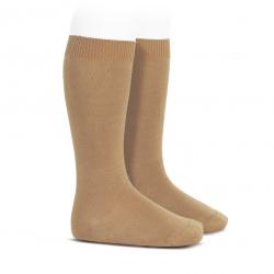 Plain stitch basic knee high socks CAMEL