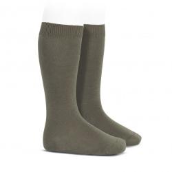 Plain stitch basic knee high socks MINK