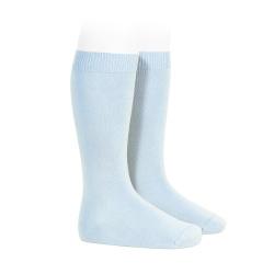 Plain stitch basic knee high socks BABY BLUE