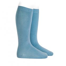 Plain stitch basic knee high socks CLOUD