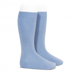 Plain stitch basic knee high socks BLUISH