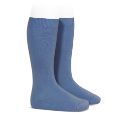 Plain stitch basic knee high socks FRENCH BLUE