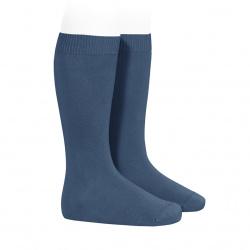 Plain stitch basic knee high socks COBALT
