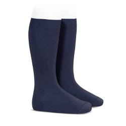 Plain stitch basic knee high socks NAVY BLUE